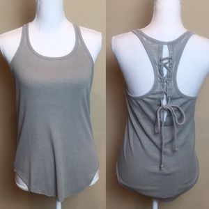 CHASER Tank Laced Up Racer Back Gray Ribbed NWT
